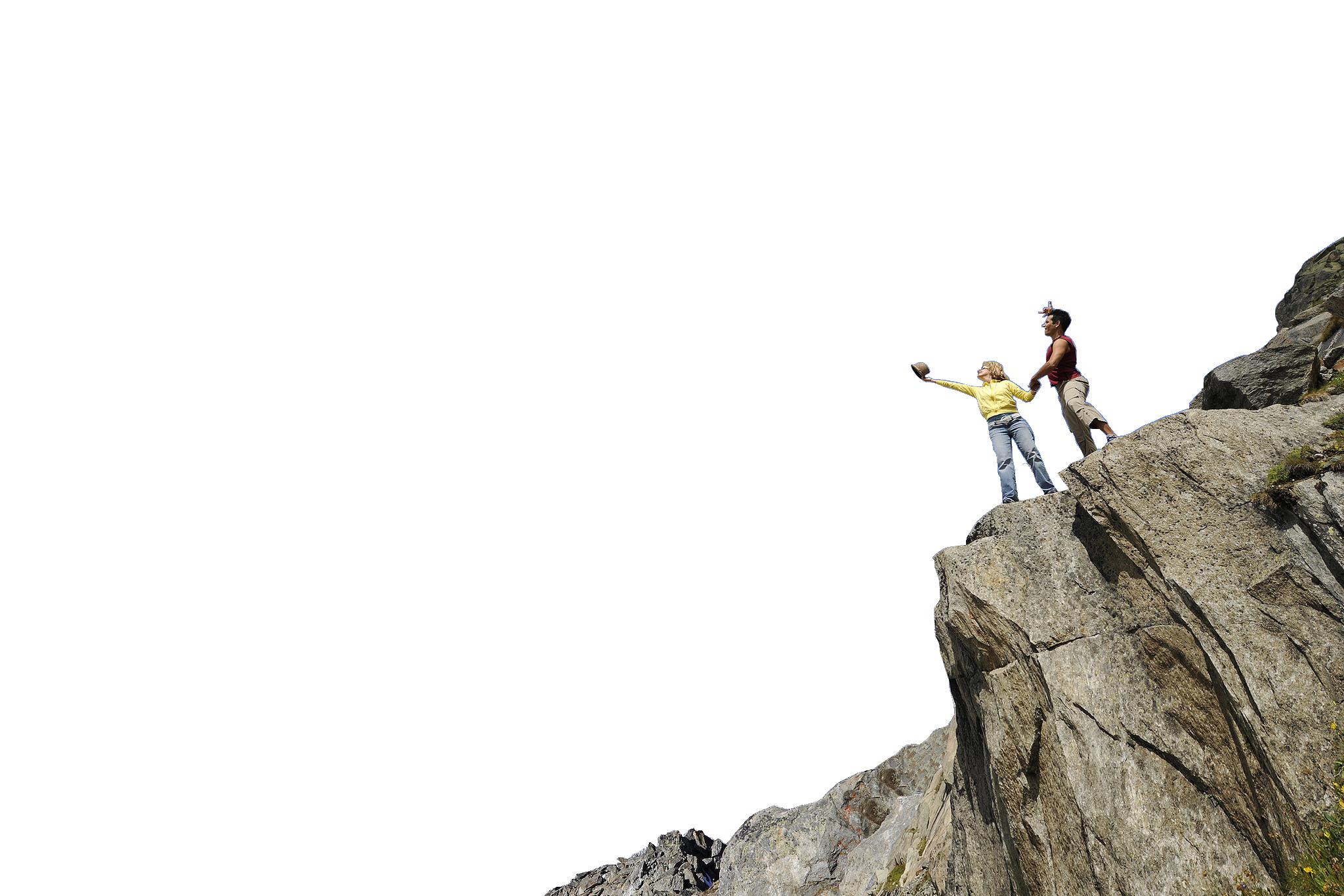 Een berg met 2 mensen